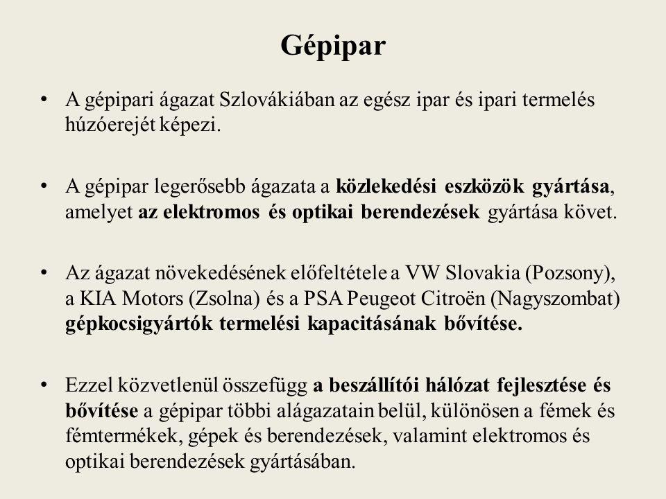 Gépipar A gépipari ágazat Szlovákiában az egész ipar és ipari termelés húzóerejét képezi.