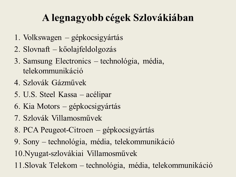 A legnagyobb cégek Szlovákiában 1.Volkswagen – gépkocsigyártás 2.Slovnaft – kőolajfeldolgozás 3.Samsung Electronics – technológia, média, telekommunik