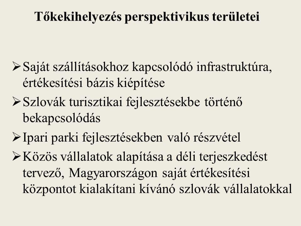 Tőkekihelyezés perspektivikus területei  Saját szállításokhoz kapcsolódó infrastruktúra, értékesítési bázis kiépítése  Szlovák turisztikai fejlesztésekbe történő bekapcsolódás  Ipari parki fejlesztésekben való részvétel  Közös vállalatok alapítása a déli terjeszkedést tervező, Magyarországon saját értékesítési központot kialakítani kívánó szlovák vállalatokkal