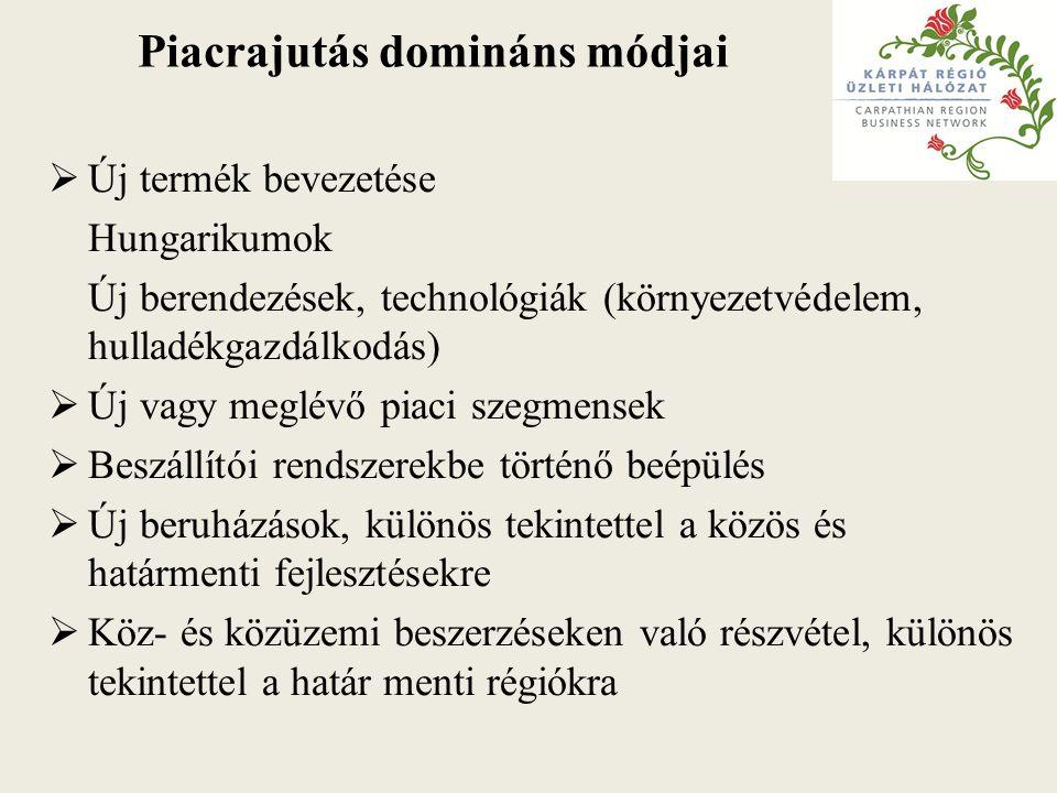 Piacrajutás domináns módjai  Új termék bevezetése Hungarikumok Új berendezések, technológiák (környezetvédelem, hulladékgazdálkodás)  Új vagy meglévő piaci szegmensek  Beszállítói rendszerekbe történő beépülés  Új beruházások, különös tekintettel a közös és határmenti fejlesztésekre  Köz- és közüzemi beszerzéseken való részvétel, különös tekintettel a határ menti régiókra