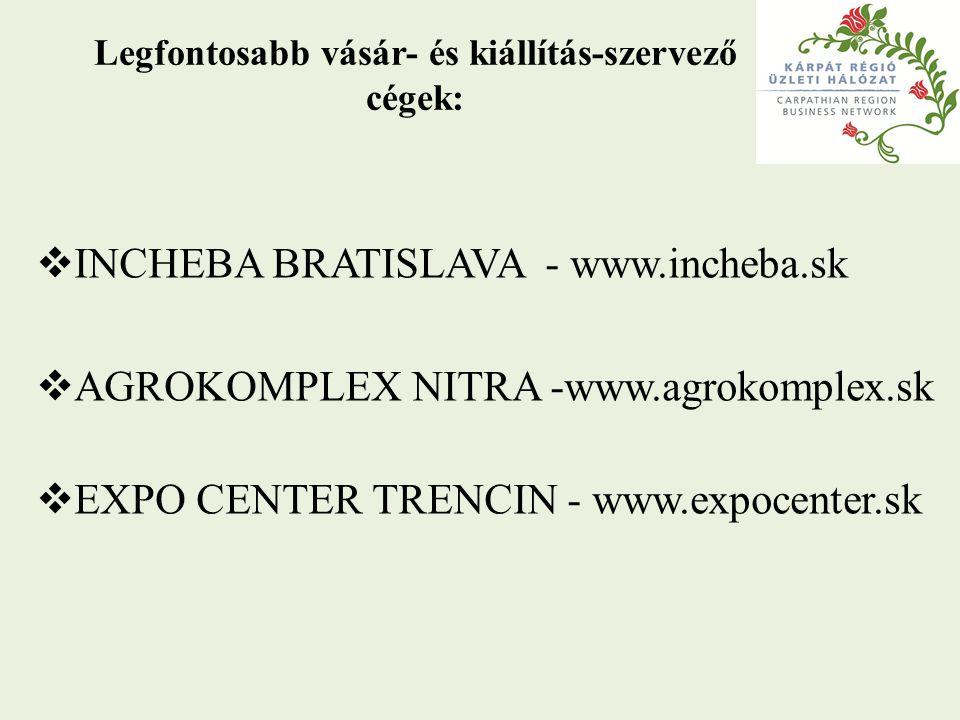 Legfontosabb vásár- és kiállítás-szervező cégek:  INCHEBA BRATISLAVA - www.incheba.sk  AGROKOMPLEX NITRA -www.agrokomplex.sk  EXPO CENTER TRENCIN -