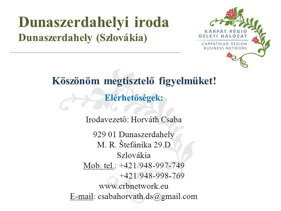 Köszönöm megtisztelő figyelmüket! Elérhetőségek: Irodavezető: Horváth Csaba 929 01 Dunaszerdahely M. R. Štefánika 29.D Szlovákia Mob. tel.: +421/948-9