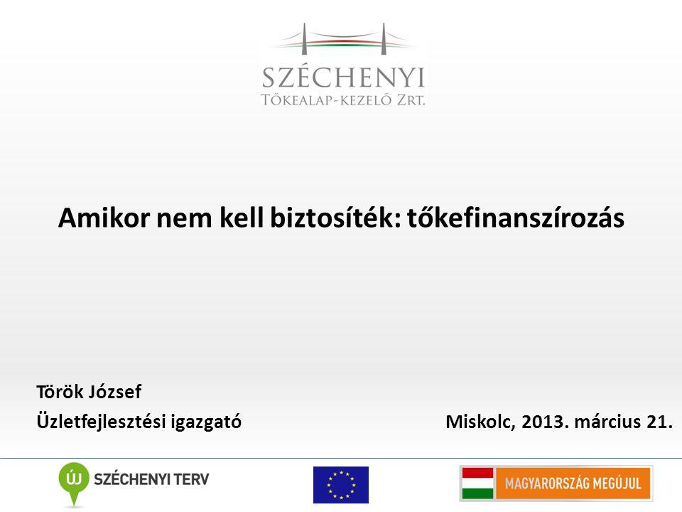 Amikor nem kell biztosíték: tőkefinanszírozás Török József Üzletfejlesztési igazgató Miskolc, 2013.