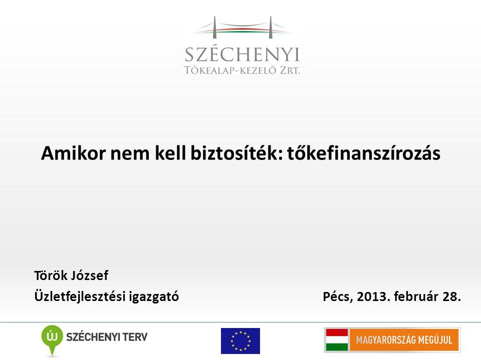 Amikor nem kell biztosíték: tőkefinanszírozás Török József Üzletfejlesztési igazgató Pécs, 2013.