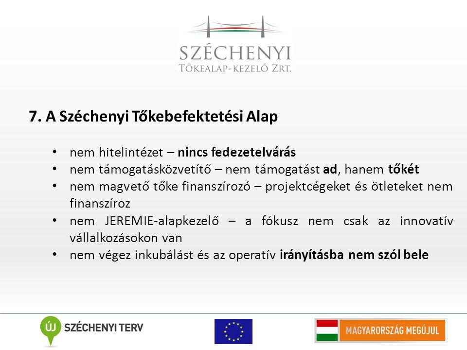 7. A Széchenyi Tőkebefektetési Alap nem hitelintézet – nincs fedezetelvárás nem támogatásközvetítő – nem támogatást ad, hanem tőkét nem magvető tőke f