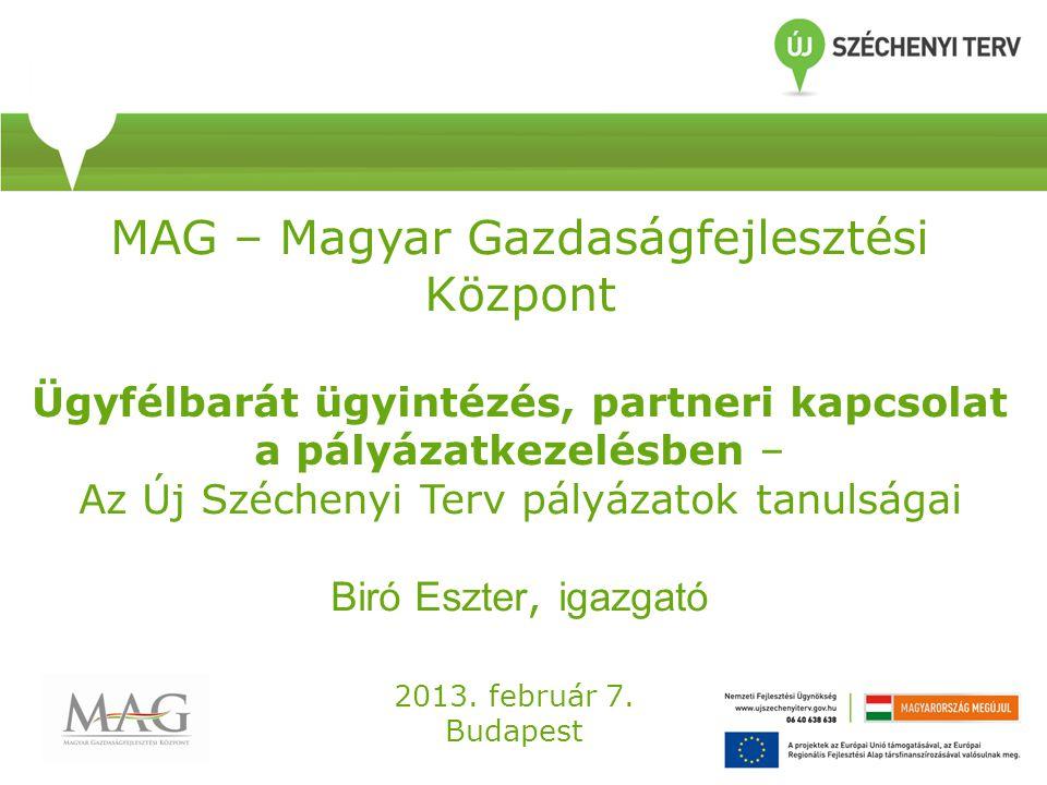 MAG – Magyar Gazdaságfejlesztési Központ Ügyfélbarát ügyintézés, partneri kapcsolat a pályázatkezelésben – Az Új Széchenyi Terv pályázatok tanulságai