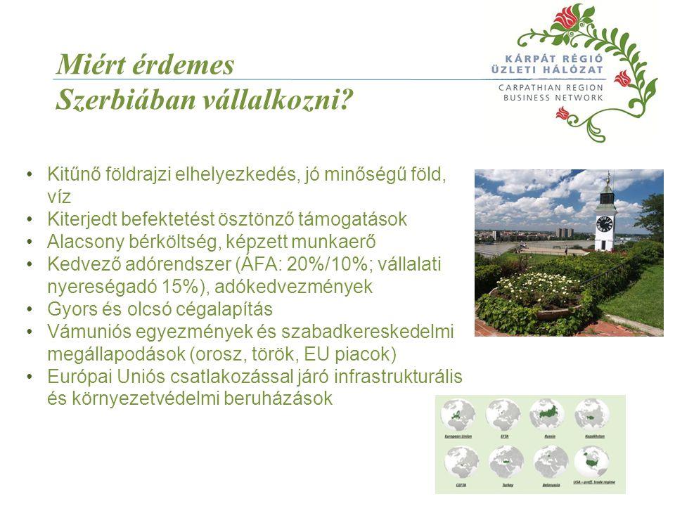 Miért érdemes Szerbiában vállalkozni? Kitűnő földrajzi elhelyezkedés, jó minőségű föld, víz Kiterjedt befektetést ösztönző támogatások Alacsony bérköl