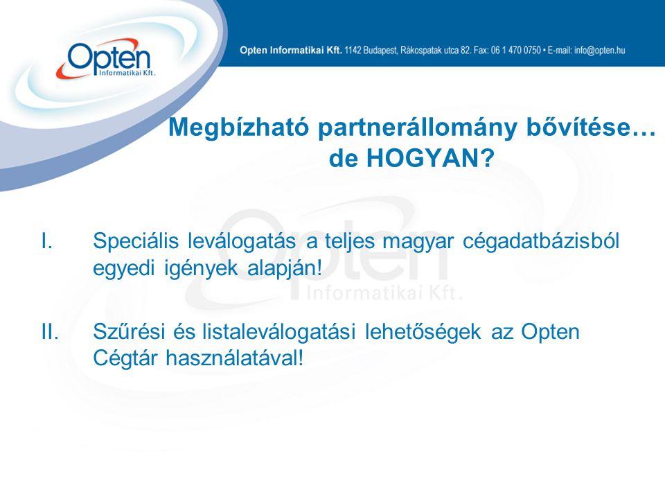 Megbízható partnerállomány bővítése… de HOGYAN? I.Speciális leválogatás a teljes magyar cégadatbázisból egyedi igények alapján! II.Szűrési és listalev