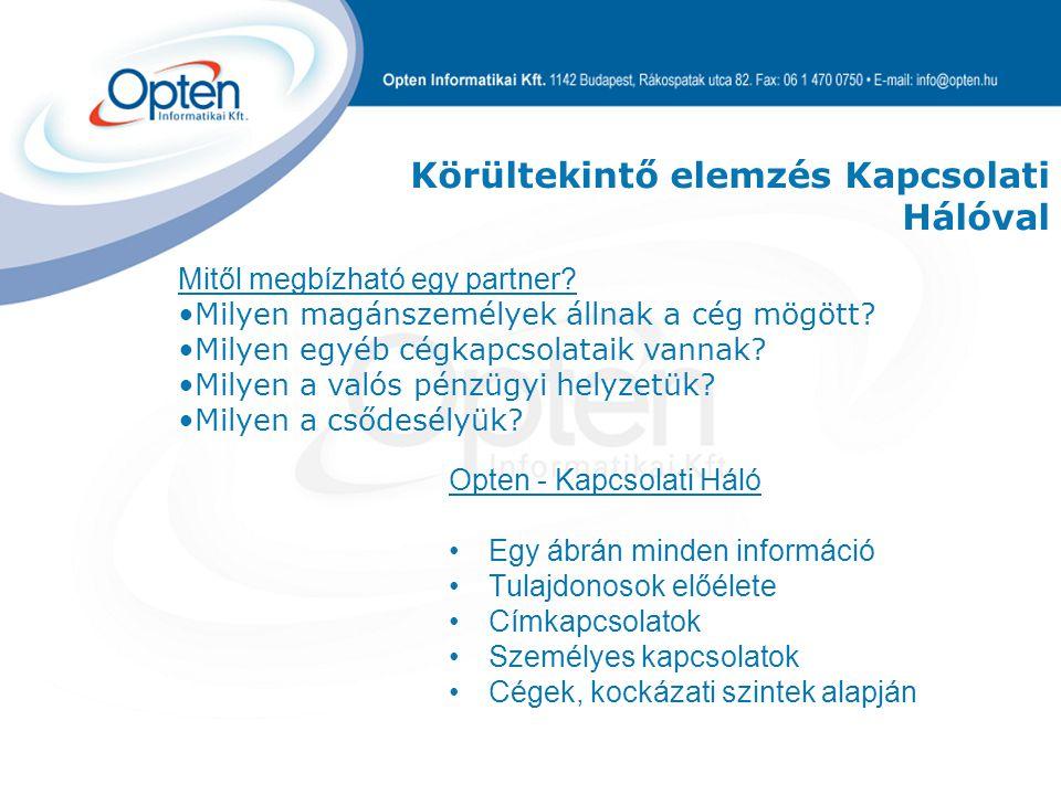 Opten - Kapcsolati Háló Egy ábrán minden információ Tulajdonosok előélete Címkapcsolatok Személyes kapcsolatok Cégek, kockázati szintek alapján Mitől megbízható egy partner.