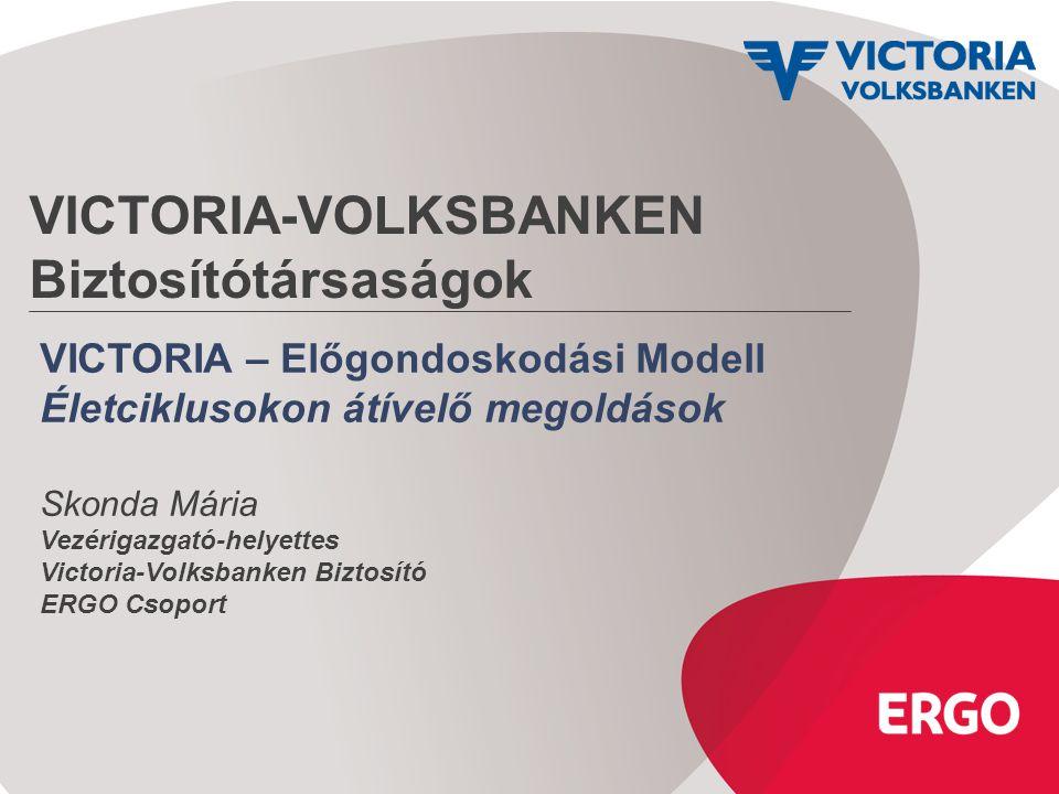 VICTORIA-VOLKSBANKEN Biztosítótársaságok VICTORIA – Előgondoskodási Modell Életciklusokon átívelő megoldások Skonda Mária Vezérigazgató-helyettes Vict