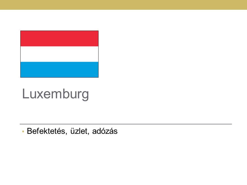 Luxemburg – az EU pénzügyi központja 2586 km 2 476,000 fő GDP: 75,600 EUR/fő A befektetési alapok második legynagyobb központja Legnagyobb viszontbiztosítási központ az EU-ban Az eurozóna legnagyobb privátbanki központja Európa vezető vállalati központja: RTL, Skype, ExxonMobil, PayPal, Amazon.com