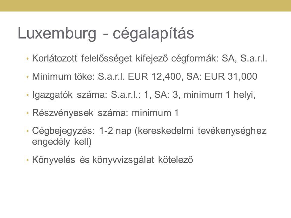 Luxemburg - adózás Társasági adó: 28,8% Adómentes cégformák: SOPARFI (holdingcég), SFC (magán és családi vagyonkezelés) 15% áfa elektronikusan nyújtott szolgáltatásokra, 3% áfa rádió és televízió szolgáltatásokra, függetlenül attól, hogy hova nyújtják Kettős adóztatás kizárásáról szóló egyezmény 62 országgal 80%-os adókedvezmény vagyoni értékű jogok hasznosításából vagy értékesítéséből elért nyereségre Nincs forrásadó a kamat és jogdíjkifizetésekre Könnyen és gyorsan lehet adómegállapodást kötni a hatóságokkal