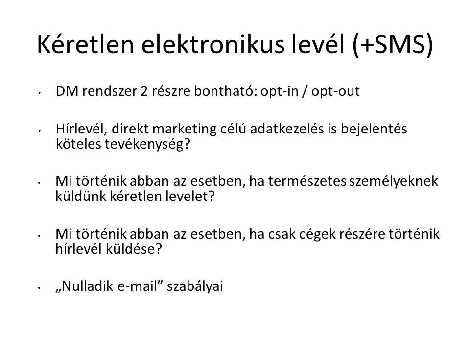 Kéretlen elektronikus levél (+SMS) DM rendszer 2 részre bontható: opt-in / opt-out Hírlevél, direkt marketing célú adatkezelés is bejelentés köteles tevékenység.