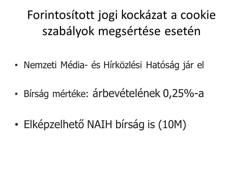 Forintosított jogi kockázat a cookie szabályok megsértése esetén Nemzeti Média- és Hírközlési Hatóság jár el Bírság mértéke: árbevételének 0,25%-a Elképzelhető NAIH bírság is (10M)