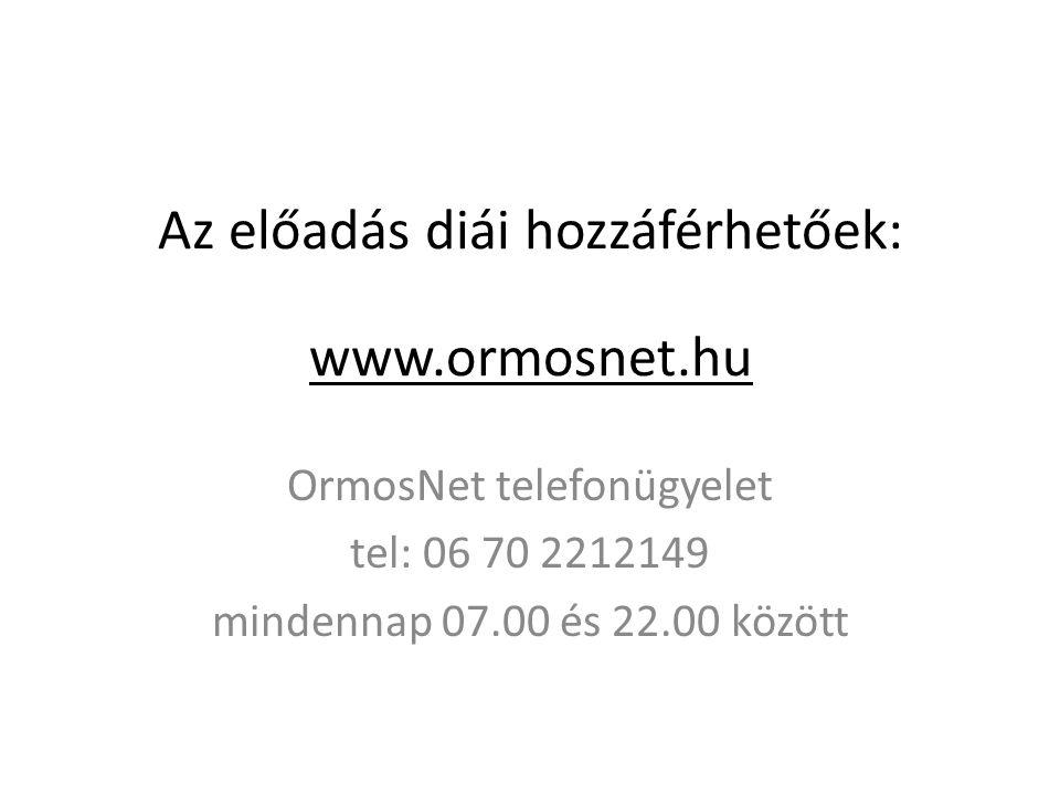 Az előadás diái hozzáférhetőek: www.ormosnet.hu OrmosNet telefonügyelet tel: 06 70 2212149 mindennap 07.00 és 22.00 között