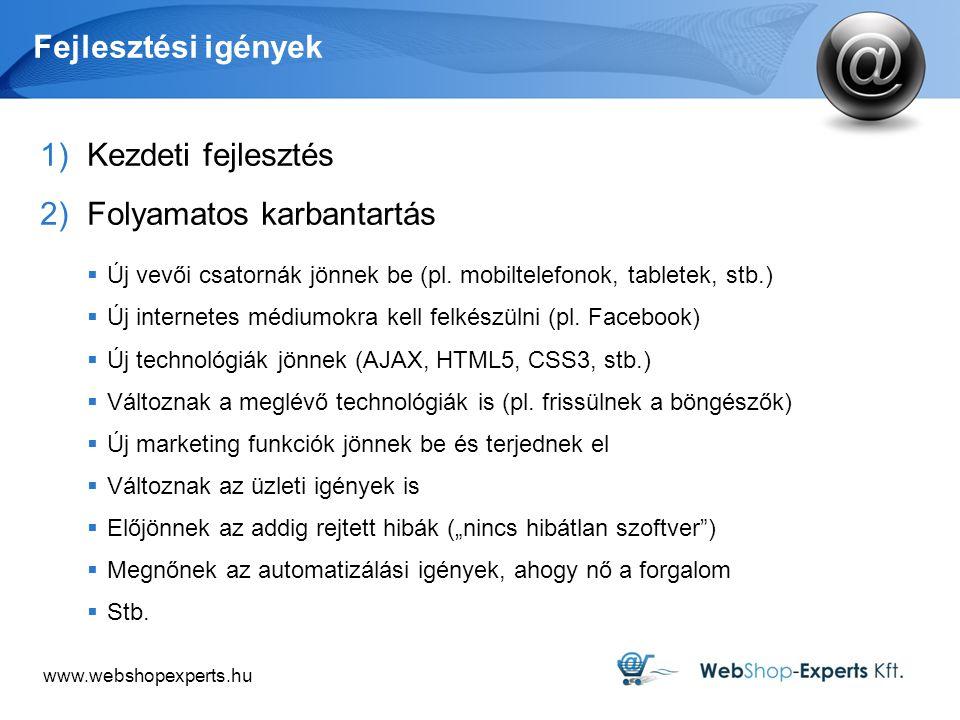 www.webshopexperts.hu Fejlesztési igények 1)Kezdeti fejlesztés 2)Folyamatos karbantartás  Új vevői csatornák jönnek be (pl. mobiltelefonok, tabletek,