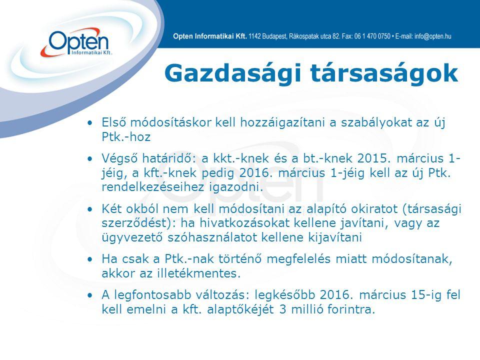 Gazdasági társaságok Nem tartalmaz Első módosításkor kell hozzáigazítani a szabályokat az új Ptk.-hoz Végső határidő: a kkt.-knek és a bt.-knek 2015.