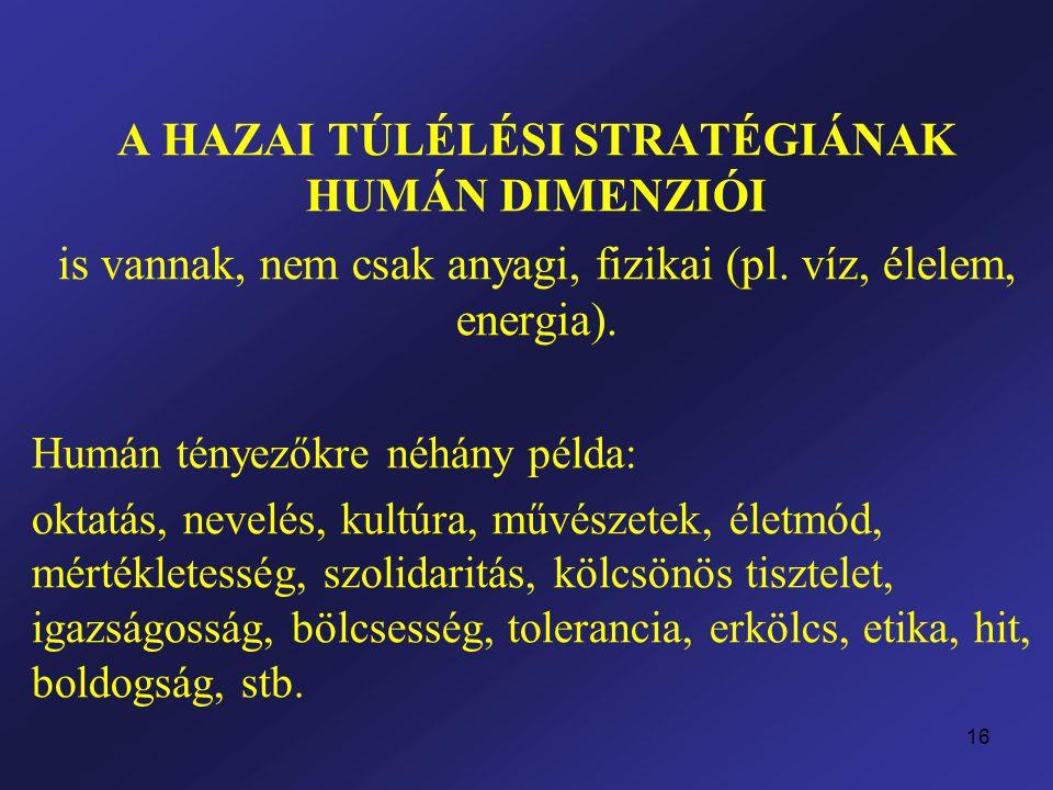 16 A HAZAI TÚLÉLÉSI STRATÉGIÁNAK HUMÁN DIMENZIÓI is vannak, nem csak anyagi, fizikai (pl.