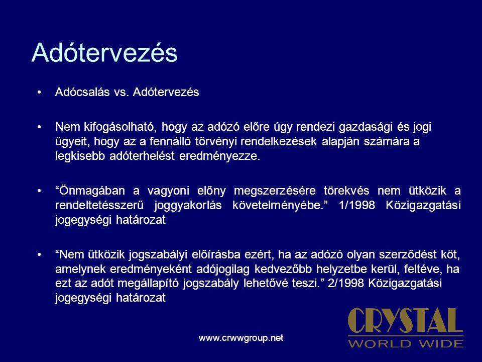 www.crwwgroup.net Adótervezés Adócsalás vs.