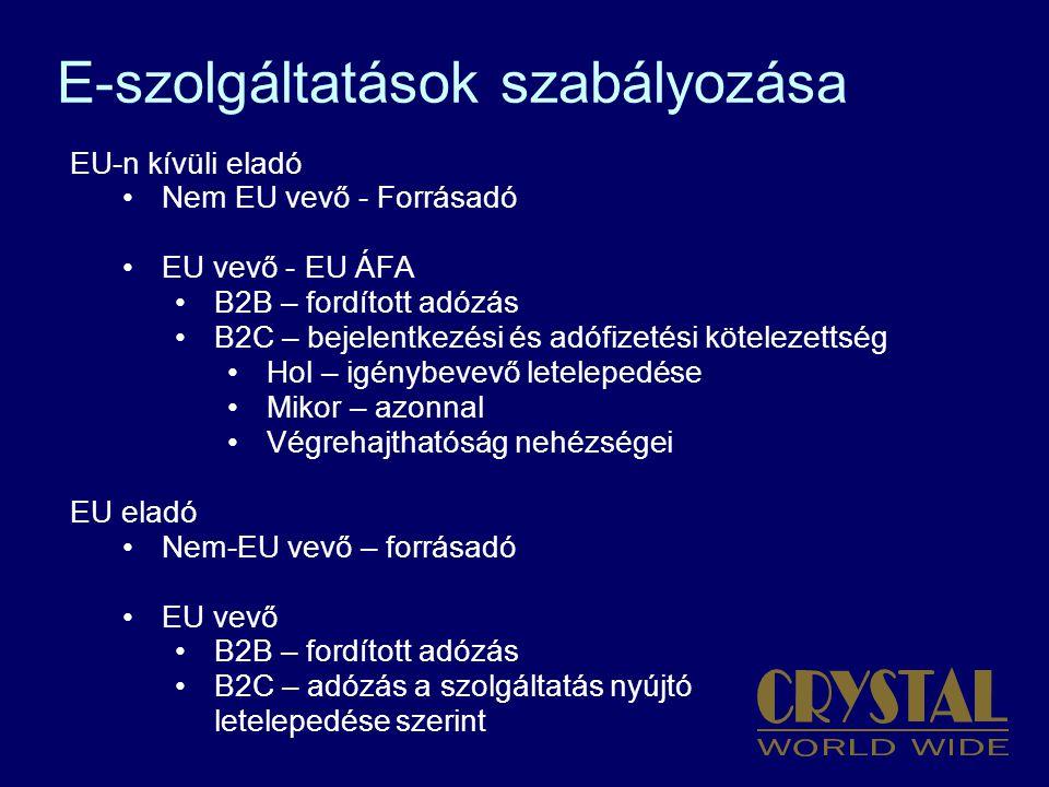 E-szolgáltatások szabályozása EU-n kívüli eladó Nem EU vevő - Forrásadó EU vevő - EU ÁFA B2B – fordított adózás B2C – bejelentkezési és adófizetési kötelezettség Hol – igénybevevő letelepedése Mikor – azonnal Végrehajthatóság nehézségei EU eladó Nem-EU vevő – forrásadó EU vevő B2B – fordított adózás B2C – adózás a szolgáltatás nyújtó letelepedése szerint