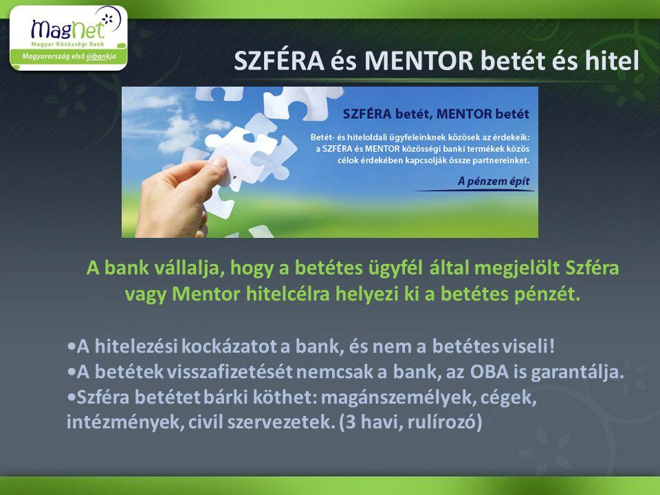 SZFÉRA és MENTOR betét és hitel A bank vállalja, hogy a betétes ügyfél által megjelölt Szféra vagy Mentor hitelcélra helyezi ki a betétes pénzét.