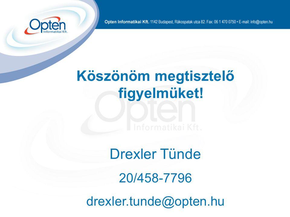 Köszönöm megtisztelő figyelmüket! Drexler Tünde 20/458-7796 drexler.tunde@opten.hu