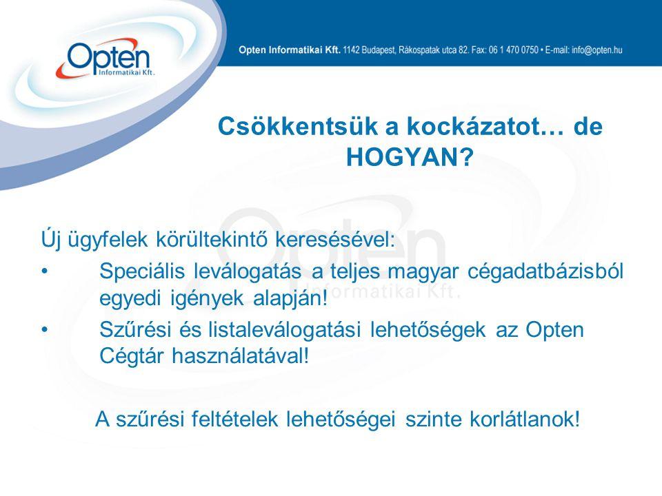 Csökkentsük a kockázatot… de HOGYAN? Új ügyfelek körültekintő keresésével: Speciális leválogatás a teljes magyar cégadatbázisból egyedi igények alapjá