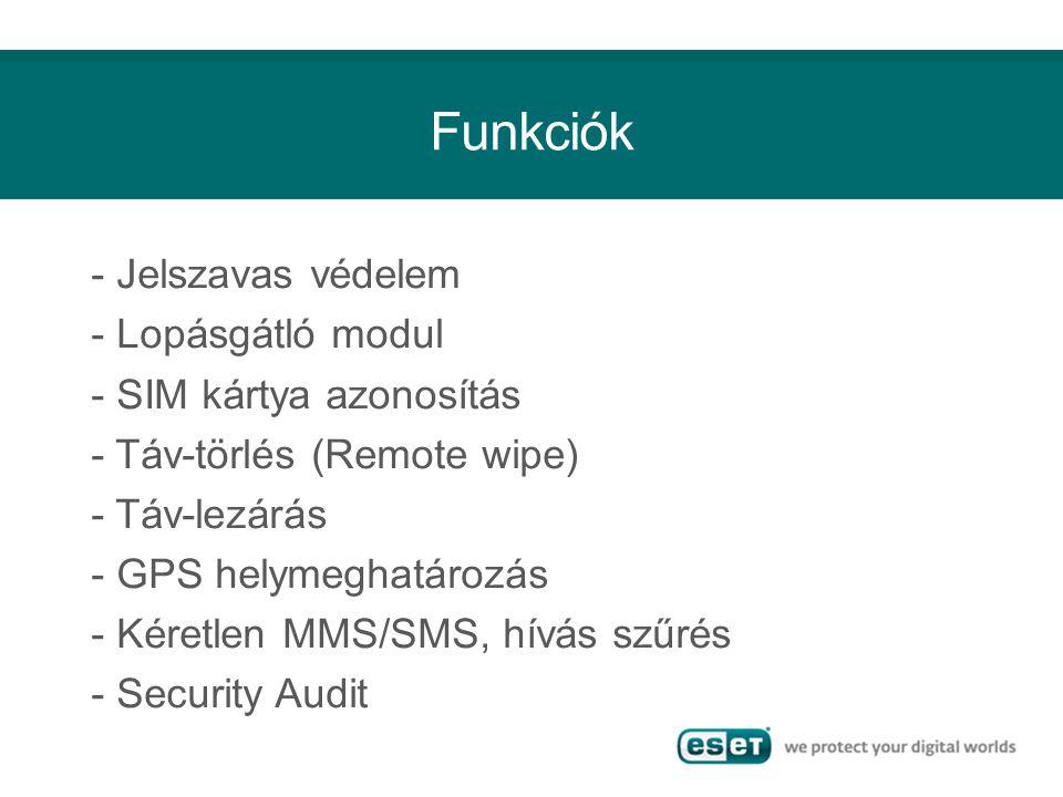 Funkciók - Jelszavas védelem - Lopásgátló modul - SIM kártya azonosítás - Táv-törlés (Remote wipe) - Táv-lezárás - GPS helymeghatározás - Kéretlen MMS/SMS, hívás szűrés - Security Audit