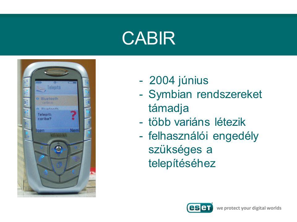 CABIR - 2004 június -Symbian rendszereket támadja -több variáns létezik -felhasználói engedély szükséges a telepítéséhez