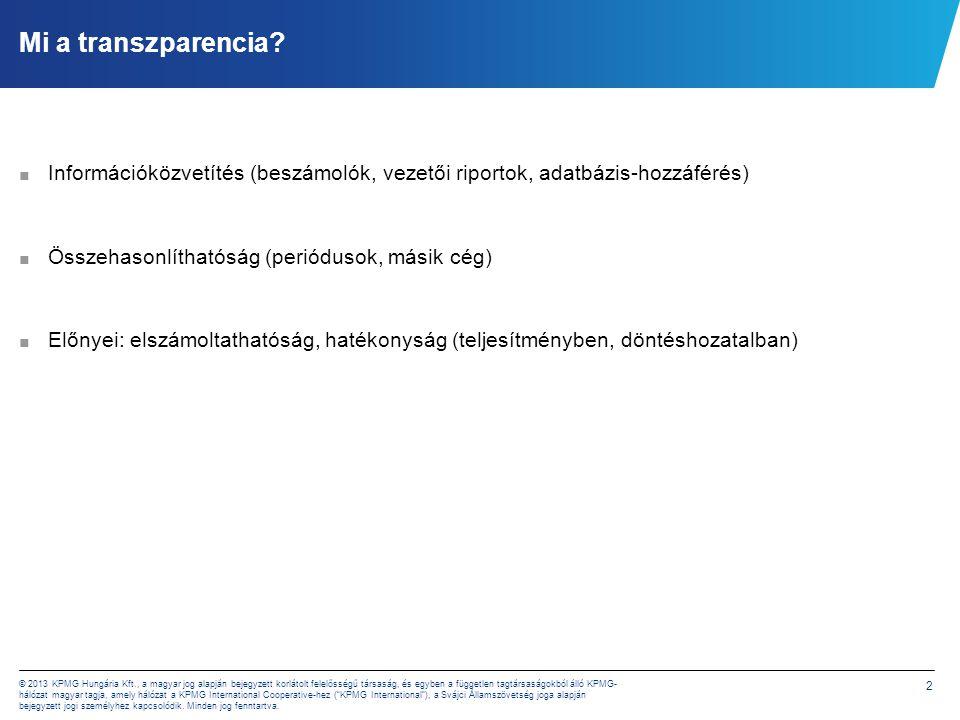 2 © 2013 KPMG Hungária Kft., a magyar jog alapján bejegyzett korlátolt felelősségű társaság, és egyben a független tagtársaságokból álló KPMG- hálózat magyar tagja, amely hálózat a KPMG International Cooperative-hez ( KPMG International ), a Svájci Államszövetség joga alapján bejegyzett jogi személyhez kapcsolódik.