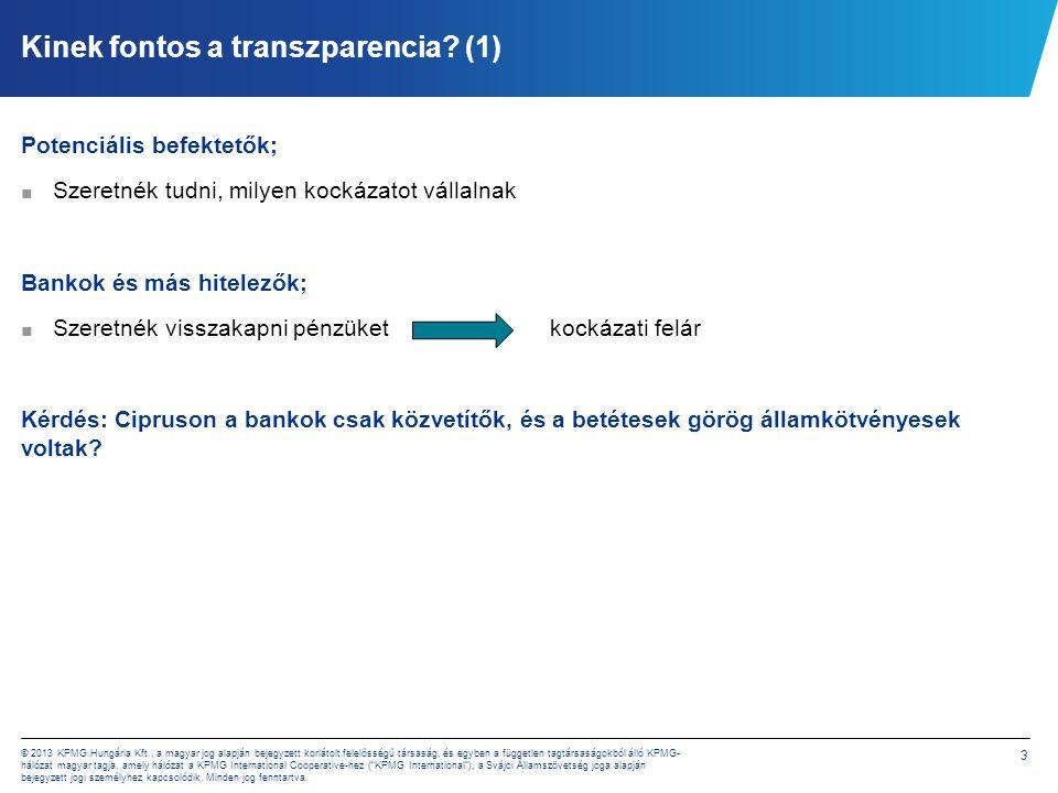 3 © 2013 KPMG Hungária Kft., a magyar jog alapján bejegyzett korlátolt felelősségű társaság, és egyben a független tagtársaságokból álló KPMG- hálózat magyar tagja, amely hálózat a KPMG International Cooperative-hez ( KPMG International ), a Svájci Államszövetség joga alapján bejegyzett jogi személyhez kapcsolódik.