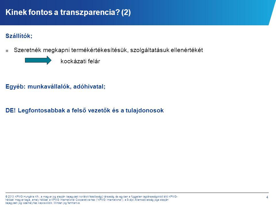 4 © 2013 KPMG Hungária Kft., a magyar jog alapján bejegyzett korlátolt felelősségű társaság, és egyben a független tagtársaságokból álló KPMG- hálózat magyar tagja, amely hálózat a KPMG International Cooperative-hez ( KPMG International ), a Svájci Államszövetség joga alapján bejegyzett jogi személyhez kapcsolódik.