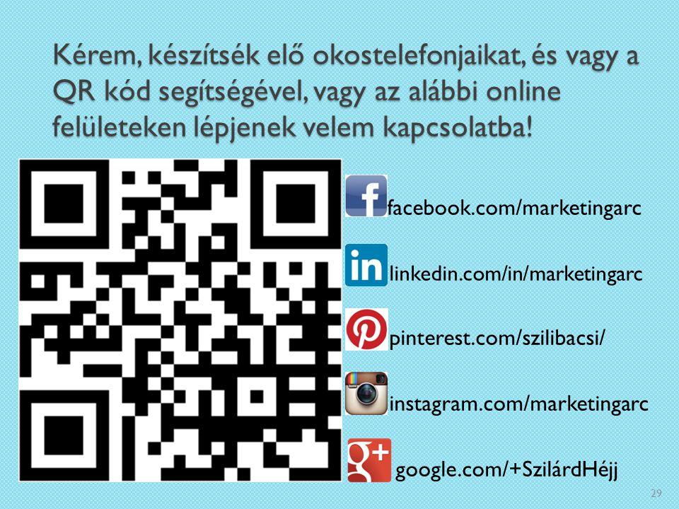 Kérem, készítsék elő okostelefonjaikat, és vagy a QR kód segítségével, vagy az alábbi online felületeken lépjenek velem kapcsolatba! facebook.com/mark