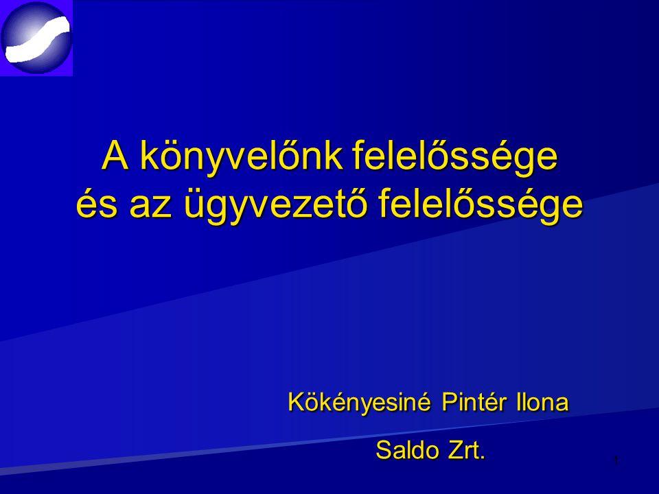 A könyvelőnk felelőssége és az ügyvezető felelőssége Kökényesiné Pintér Ilona Saldo Zrt. 1