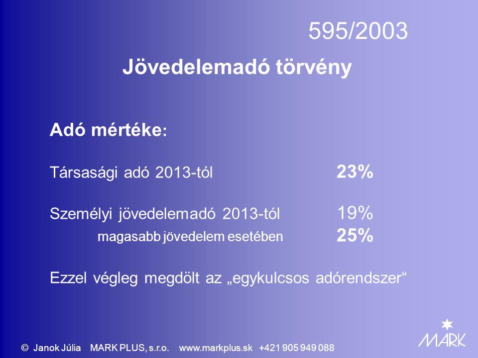 595/2003 Jövedelemadó törvény Adó mértéke : Társasági adó 2013-tól 23% Személyi jövedelemadó 2013-tól 19% magasabb jövedelem esetében 25% Ezzel végleg
