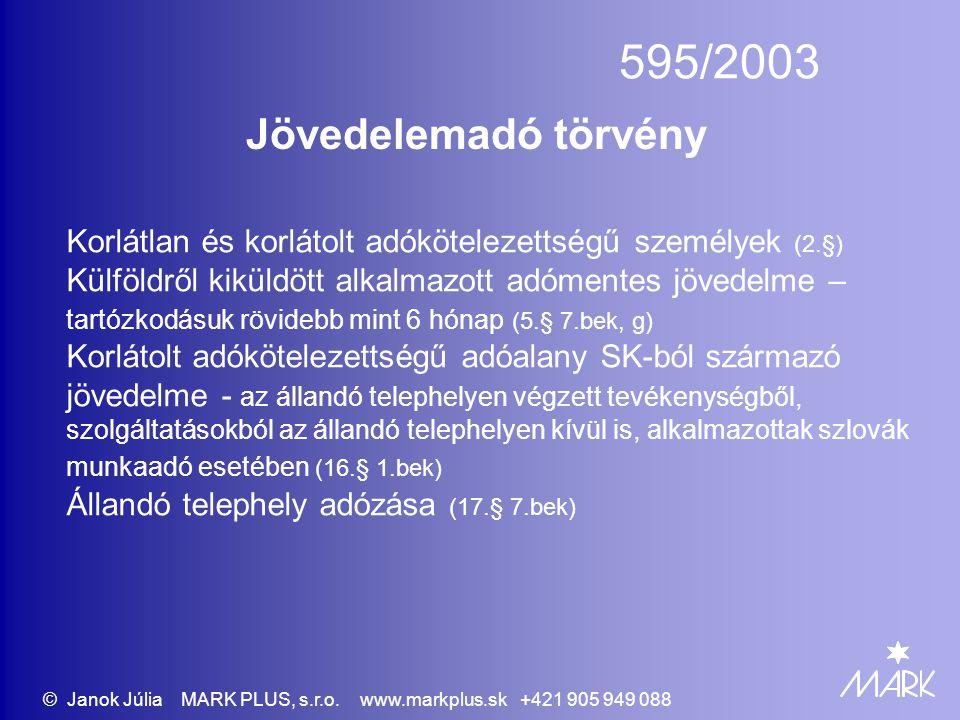 595/2003 Jövedelemadó törvény Korlátlan és korlátolt adókötelezettségű személyek (2.§) Külföldről kiküldött alkalmazott adómentes jövedelme – tartózko