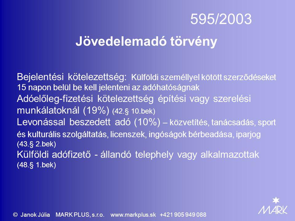 595/2003 Jövedelemadó törvény Bejelentési kötelezettség: Külföldi személlyel kötött szerződéseket 15 napon belül be kell jelenteni az adóhatóságnak Ad