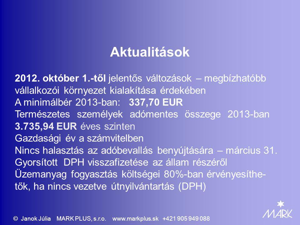 Aktualitások 2012. október 1.-től jelentős változások – megbízhatóbb vállalkozói környezet kialakítása érdekében A minimálbér 2013-ban: 337,70 EUR Ter