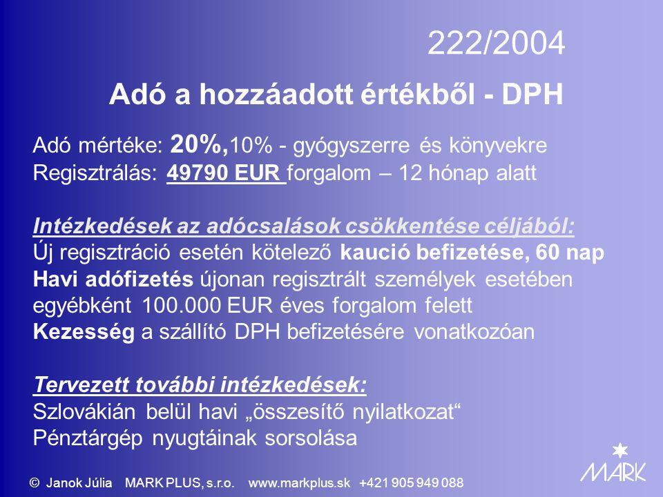 222/2004 Adó a hozzáadott értékből - DPH Adó mértéke: 20%, 10% - gyógyszerre és könyvekre Regisztrálás: 49790 EUR forgalom – 12 hónap alatt Intézkedés