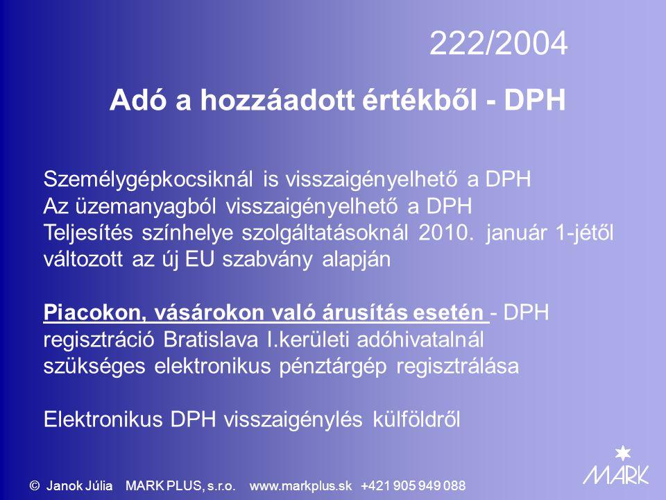 222/2004 Adó a hozzáadott értékből - DPH Személygépkocsiknál is visszaigényelhető a DPH Az üzemanyagból visszaigényelhető a DPH Teljesítés színhelye s