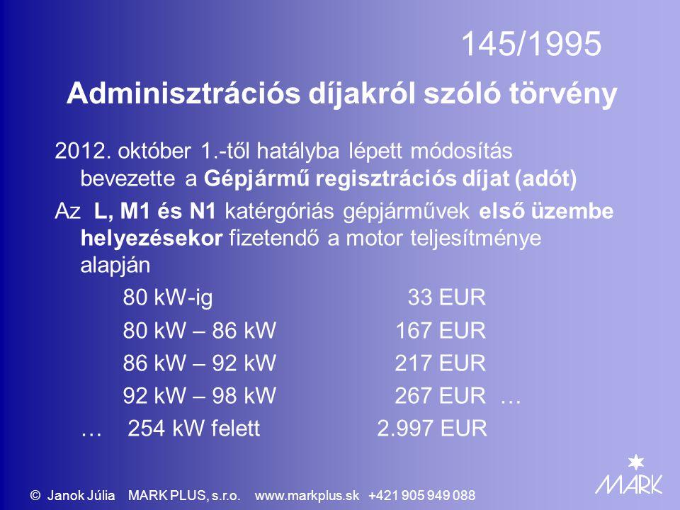 Adminisztrációs díjakról szóló törvény 2012. október 1.-től hatályba lépett módosítás bevezette a Gépjármű regisztrációs díjat (adót) Az L, M1 és N1 k