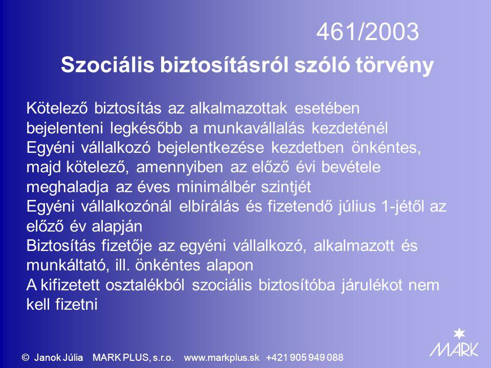 461/2003 Szociális biztosításról szóló törvény Kötelező biztosítás az alkalmazottak esetében bejelenteni legkésőbb a munkavállalás kezdeténél Egyéni v
