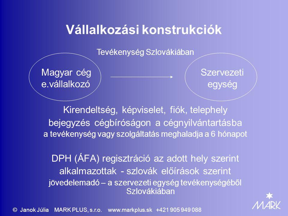 136/2010 Egyablakos ügyintézési pontok - céges vállalkozáshoz szükséges okiratok - Legelterjedtebb a KFT - Cégalapítási okirat - társasági szerződés - Személyazonosságot igazoló okirat - Feddhetetlenségi bizonylat (erkölcsi bizonyítvány) + hiteles fordítása az ügyvezetőknek, a felelős megbízottaknak - Tulajdoni lap, bérleti szerződés - Adóhivatal hozzájárulása © Janok Júlia MARK PLUS, s.r.o.