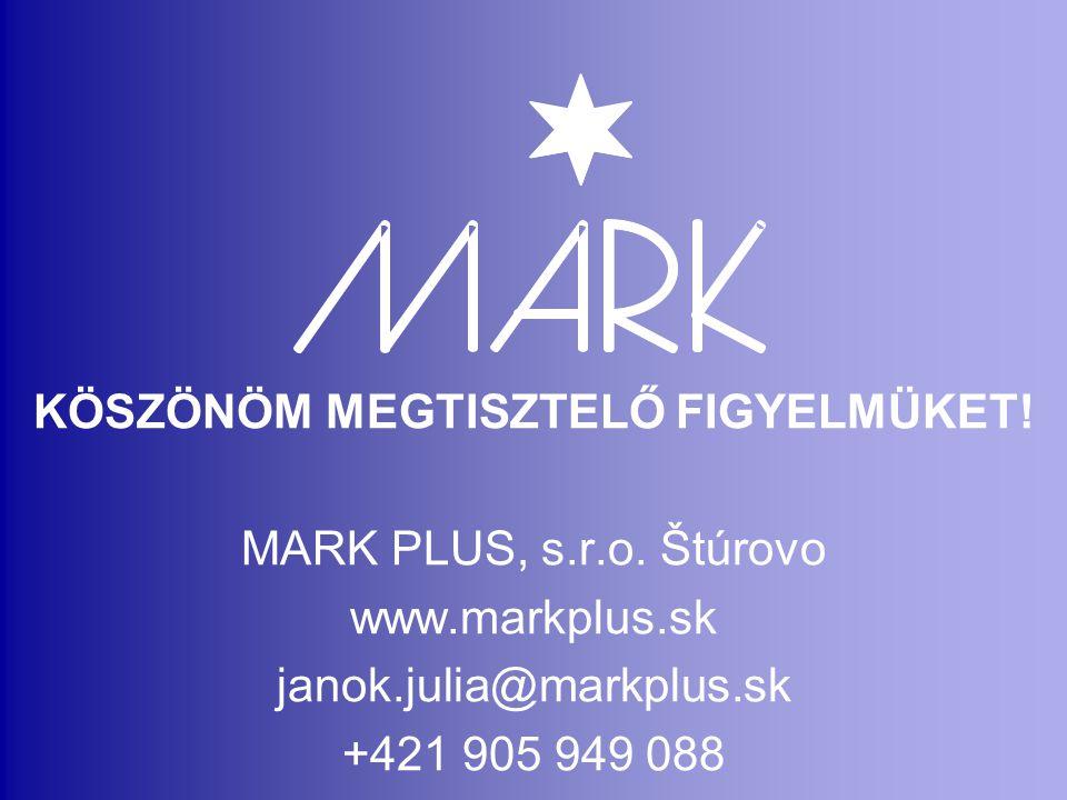 KÖSZÖNÖM MEGTISZTELŐ FIGYELMÜKET! MARK PLUS, s.r.o. Štúrovo www.markplus.sk janok.julia@markplus.sk +421 905 949 088