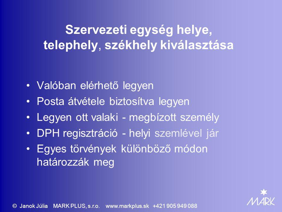 563/2009 Regisztrálás az adóhatóságnál – EÜP elvégzi Egyéni vállalkozó mint adóalany - EÜP Társasági adó - társaság mint adóalany Alkalmazottak adófizetése - munkáltatóként Szervezeti egység – állandó telephely regisztrálása Változások bejelentése © Janok Júlia MARK PLUS, s.r.o.