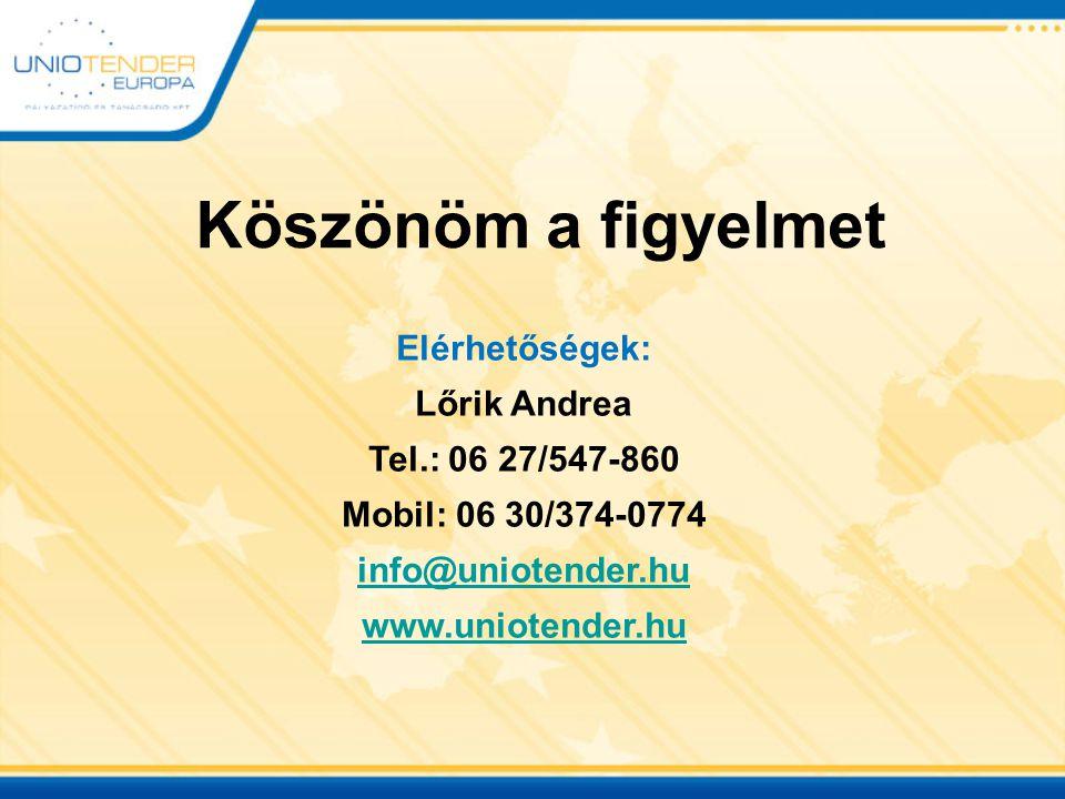 Köszönöm a figyelmet Elérhetőségek: Lőrik Andrea Tel.: 06 27/547-860 Mobil: 06 30/374-0774 info@uniotender.hu www.uniotender.hu
