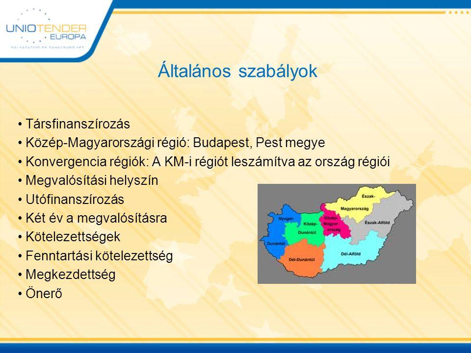 Általános szabályok Társfinanszírozás Közép-Magyarországi régió: Budapest, Pest megye Konvergencia régiók: A KM-i régiót leszámítva az ország régiói Megvalósítási helyszín Utófinanszírozás Két év a megvalósításra Kötelezettségek Fenntartási kötelezettség Megkezdettség Önerő