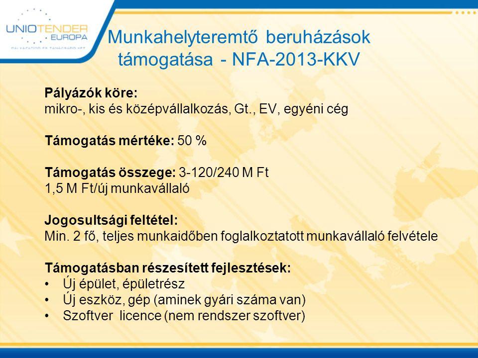 Munkahelyteremtő beruházások támogatása - NFA-2013-KKV Pályázók köre: mikro-, kis és középvállalkozás, Gt., EV, egyéni cég Támogatás mértéke: 50 % Támogatás összege: 3-120/240 M Ft 1,5 M Ft/új munkavállaló Jogosultsági feltétel: Min.