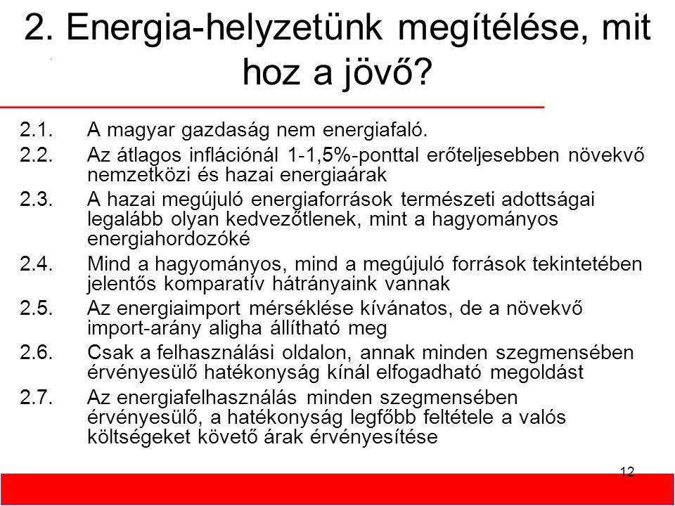 2. Energia-helyzetünk megítélése, mit hoz a jövő? 12 2.1.A magyar gazdaság nem energiafaló. 2.2.Az átlagos inflációnál 1-1,5%-ponttal erőteljesebben n