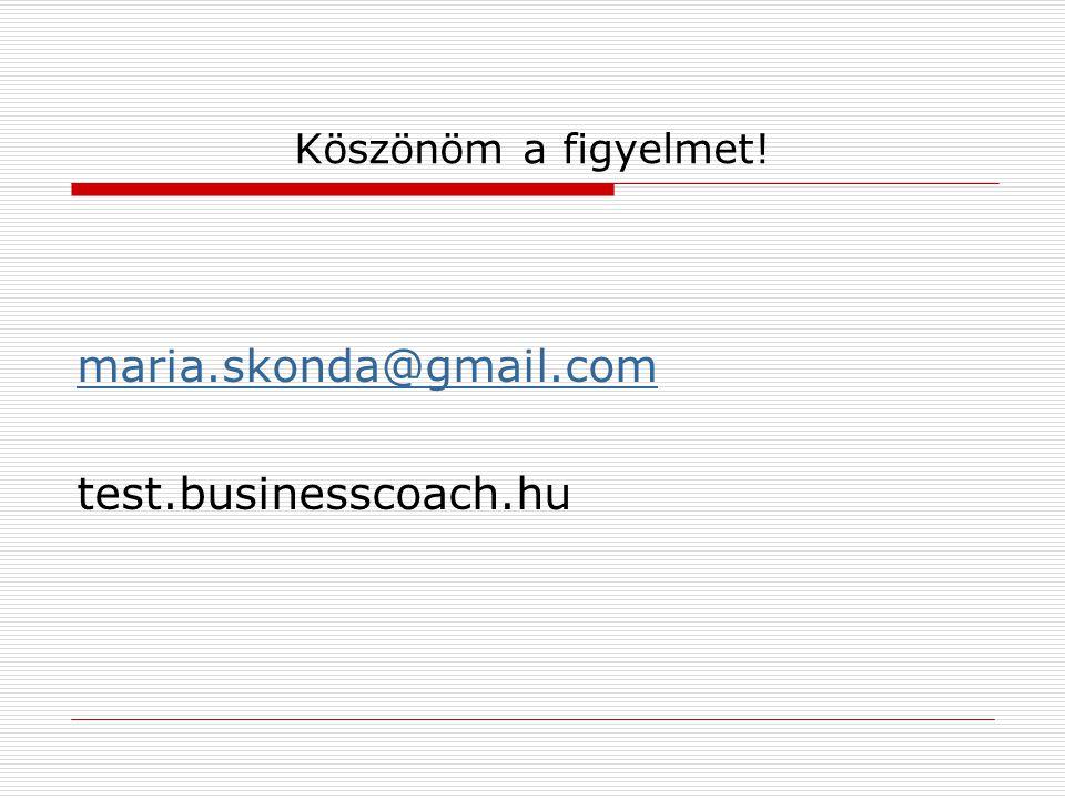 Köszönöm a figyelmet! maria.skonda@gmail.com test.businesscoach.hu